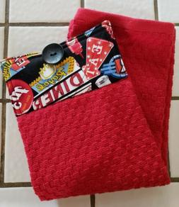 Route 66 Diner Hanging Kitchen Towel with Loop 100% Cotton