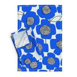 Royal Blue Blue Flowers Kitchen Linen Cotton Tea Towels by R
