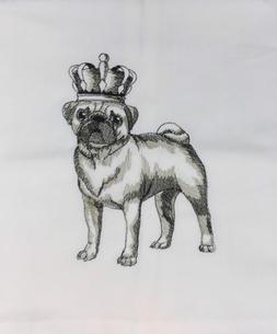 royal pug sketch large design embroidered on
