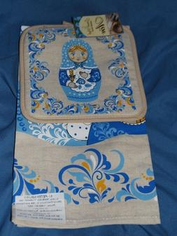 RUSSIAN Doll Blue with yellow accents  POT HOLDER/KITCHEN DI