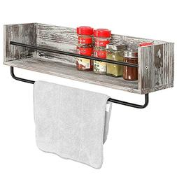 Rustic Torched Wood and Metal Wall Mounted Kitchen Spice Rac
