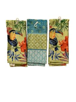 Mainstays Tropical Dish Towels w/ Toucan 3pcs 100% Cotton Ki