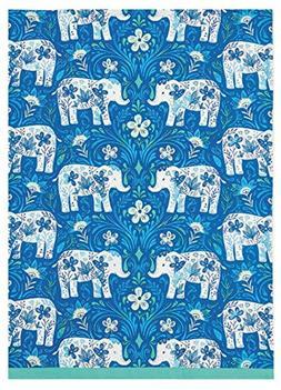 Peking Handicraft Sarah Watts Blue Teal Floral Elephant Delf
