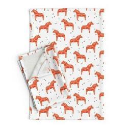 Scandinavian Swedish Dala Horse Linen Cotton Tea Towels by R