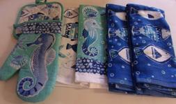 Sealife Fish Seahorse 6 Piece Kitchen Set 4 Towels,1 Oven Mi