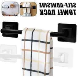 Self-adhesive Towel Bar Holder Rack Rail Wall Mounted Bathro