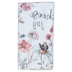 New! Set/2 Choose Joy Flowers Butterfly Kitchen Towels Hand