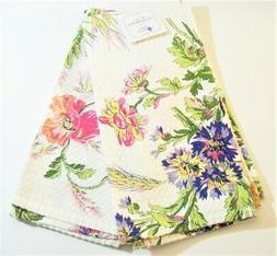 Set/2 April Cornell Cotton Kitchen Tea Towels Floral Pink Pe