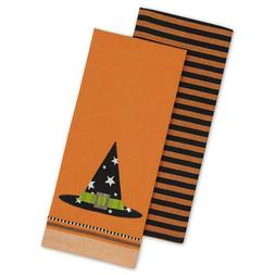 Set/2 Embroidered Witch Hat / Striped Kitchen Dish Towels 18