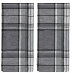 Set/2 Farmhouse Country Plaid Kitchen Towels - Gray, Charcoa