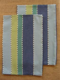 Set/2 Park Designs MANGO Kitchen Towels - Tan, Blue, Sage, O