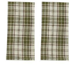 Set/2 Waffle Kitchen Towels - Green, Brown, Beige CEDAR LANE