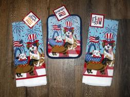 Set - 3 America Dogs Cats - 2 kitchen towels 1 potholder Kit