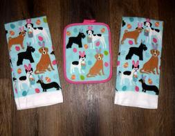 Set - 3 Easter Bunny Dogs 2 kitchen towels 1 potholder Kitch