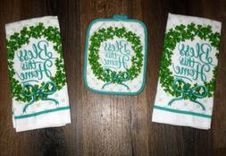Set - 3 Shamrock St Patrick 2 kitchen towels 1 potholder Kit