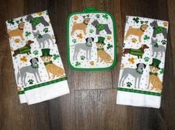 Set - 3 Shamrock St Patrick Dogs 2 kitchen towels 1 potholde