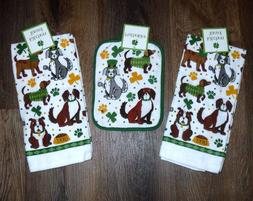Set - 3 St Patricks Dogs - 2 kitchen towels 1 potholder Kitc