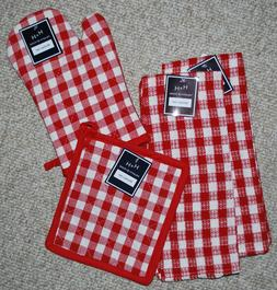 SET 4  KITCHEN TOWELS/ OVEN MITT/POTHOLDER/ SUMMER PICNIC RE