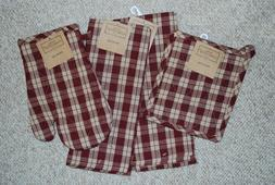 SET 4/KITCHEN TOWELS/POTHOLDER/MITT COUNTRY RED/ BURGUNDY/CO
