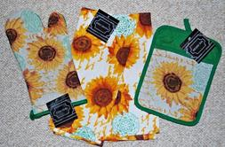 SET 4/KITCHEN TOWELS/POTHOLDER/MITT SUNFLOWER/FRENCH INSPIRE