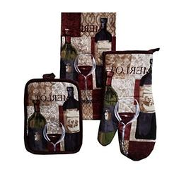 Comfort Your Kitchen 3 Pc. Kitchen Set - Merlot Wine Decorat