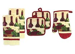 5 Piece Set Includes 2 Kitchen Towels,2 Pot Holders and 1 Ov