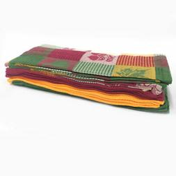 Set of 15 Harvest Woven Cotton Kitchen Dish Towels