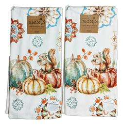 Set of 2 AUTUMN FRIENDS Pumpkins Terry Kitchen Towels by Kay