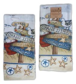 Set of 2 BEACH SIGNS Coastal Terry Kitchen Towels by Kay Dee