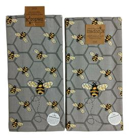 Set of 2 BEE INSPIRED Honey Bee Terry Kitchen Towels by Kay