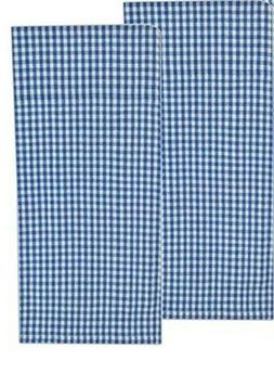 Set of 2 Blue & White Gingham Small Check Cotton Dish Towels
