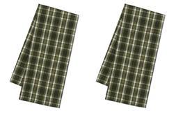 Set of 2 CASCADE PLAID Cotton Kitchen Towels - Green, Brown,