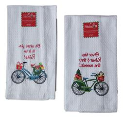 Set of 2 CHRISTMAS BICYCLE Embroidered Waffle Kitchen Towels