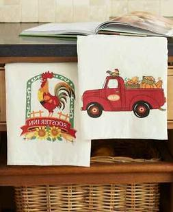Set of 2 Country Harvest Farm Truck & Rooster Kitchen Towels