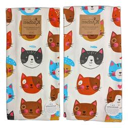 Set of 2 CRAZY CATS Cat Faces Terry Kitchen Towels by Kay De