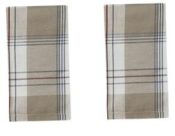 """Set of 2 Farmhouse Country Tan, Ivory, Gray, Red Plaid """"Land"""