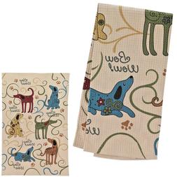 Set of 2 Festival Dogs Kitchen Towels / Waffle-Weave Cotton