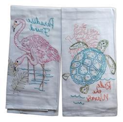 Set of 2 FLAMINGO & SEA TURTLE Embroidered Flour Sack Kitche