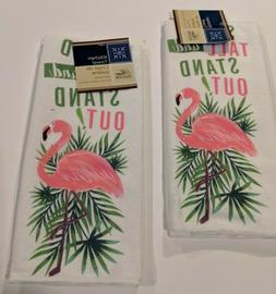 "Set Of 2 Home Collection Flamingo Kitchen Towels ""Stand Tall"