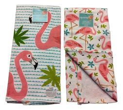 Set of 2 FLAMINGO Tropical Terry Kitchen Towels by Kay Dee D