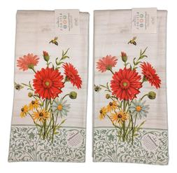Set of 2 FLORAL BUZZ Flowers & Honey Bee Terry Kitchen Towel