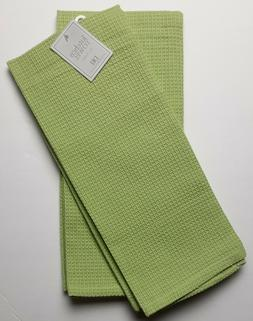 Set of 2 FRESH GREEN Waffle Weave 100% Cotton Kitchen Dish T