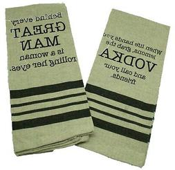Set of 2 Funny Kitchen Towels - Dark Linen with Snarky Sayin