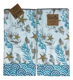 Set of 2 GOLDEN SEAS Coastal Nautical Terry Kitchen Towels b