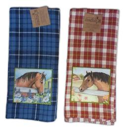 Set of 2 Grace & Beauty PLAID HORSE Applique Kitchen Towels