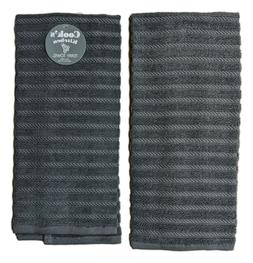 Set of 2 GRAPHITE Textured Terry Kitchen Towels by Kay Dee D