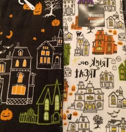 Set Of 2 Halloween Haunted House Cotton Terry Kitchen Dish H