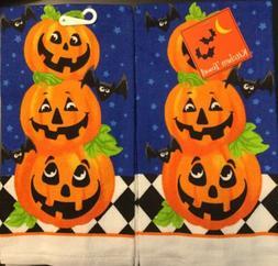 Set Of 2 Halloween Triple Pumpkin Bat Fall Holiday Kitchen H