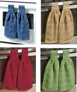 Set of 2 Hanging Cotton Kitchen Towels Dish Towel Hang On Ov