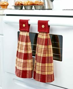 Set of 2 Hanging Country Kitchen Hand Towels Plaid Design Pr